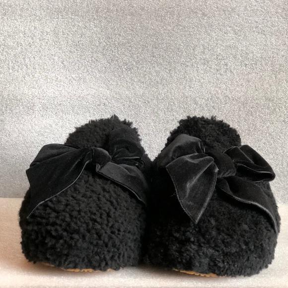 e791c9be8b1 Ugg Addison Velvet-Bow Curly Sheepskin Slippers NWT